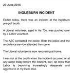 "Drama in Macarthur; Libs say volunteer pushed, Labor claim Lib MP said hed take a man ""out the back & fix him up"" ???? https://t.co/vPqKOOoL9l"