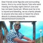 Please help us find my uncle 🙏🏽 https://t.co/h7shMBo21b