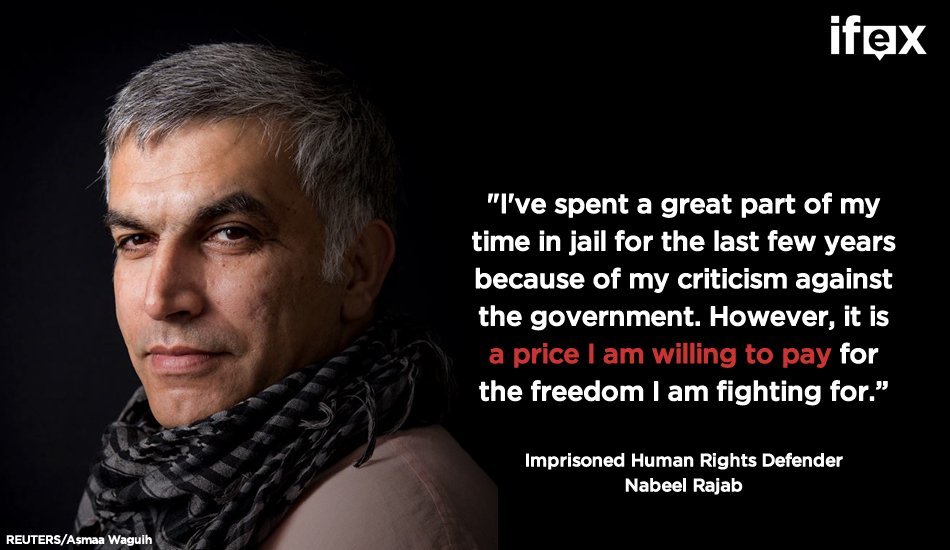 Nobody should be behind bars for shedding light on human rights violations on social media. #Bahrain #FreeNabeel https://t.co/iS26OeKDXS