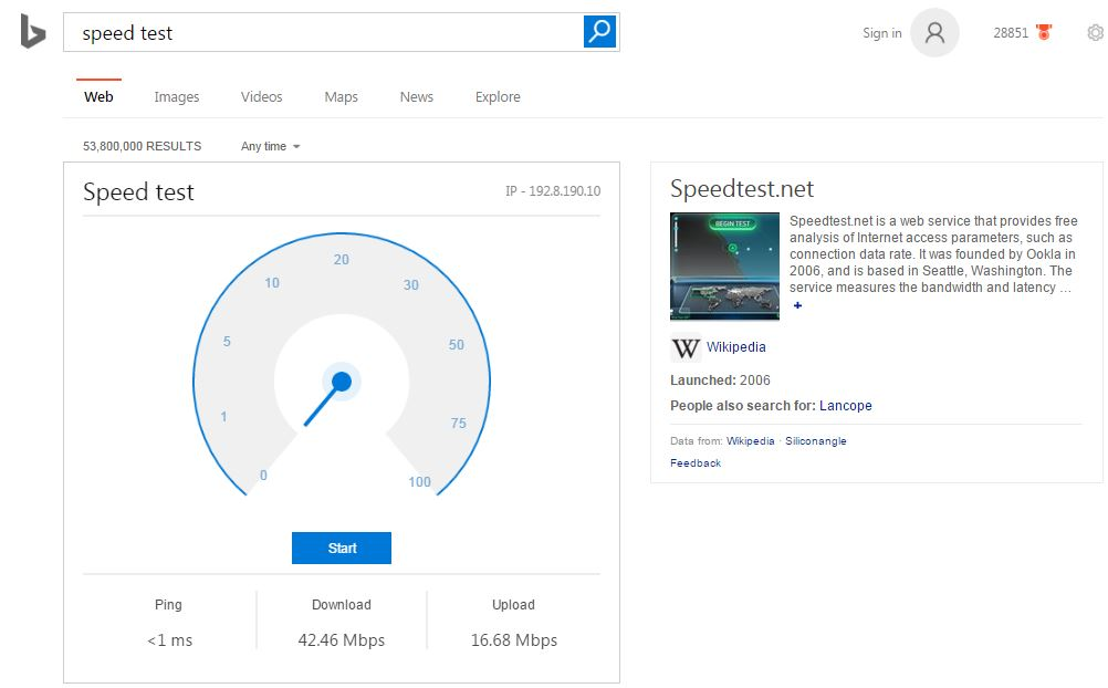 Microsoft Bing already has an internet speed tool built into search results - https://t.co/nTvrdk5dWg https://t.co/4SFLIGy1AF