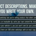 Product descriptions. Make sure you write your own. #websitetip https://t.co/ki4PIh6BEU https://t.co/LMmWuTesjr