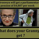 Bronwyn Bishop gets $4807 ????a week???? but pensioners get an over $2billion cut ✂️ (by @JustJen64) #AusVotes #AusPol https://t.co/0HeQVRli2X