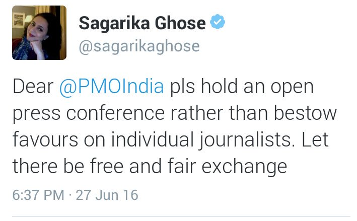 So the Champion of Freedom of Expression DELETES this tweet rather than QUIT TOI. #SagarikaHypocrisyOnFOE https://t.co/gAhSKHY2wH