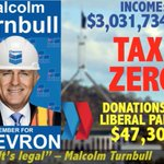 CHEVRON donate more to Turnbulls Liberals than they pay in tax on income of $3 billion #CFMEU #auspol #ausvotes https://t.co/kSlmLshgmr