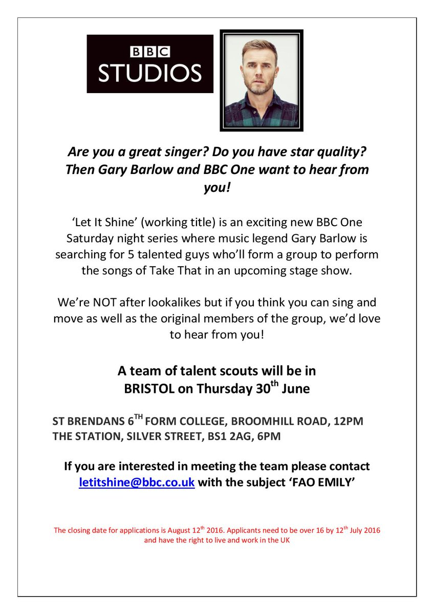 Auditions are being held in #Bristol tomorrow for the new @GaryBarlow TV show for @BBCOne. Apply today #Singers https://t.co/NeajoNTcMT