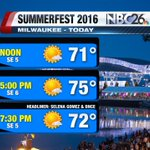 @Summerfest kicks off in Milwaukee! @selenagomez is headliner, and shes gonna love this forecast like a love song! https://t.co/BecKvY1xfp