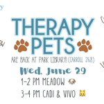 ALERT: *Therapy pets Meadow, Vivo Fugue and Cadi will be visiting the @UNCParkLib  TODAY!* 🐶 @ 1-2pm, 🐱🐱 @ 3-4pm 💕 https://t.co/IEGGDbHg5E