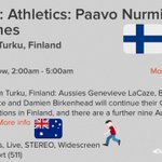 LIVE ATHLETICS TONIGHT! @EurosportAUS showing #PaavoNurmiGames🇫🇮 @pngmedia 2-5am feat stack of Aussies 🇦🇺🏃🏻👊🏼 https://t.co/kXFoukKyIW