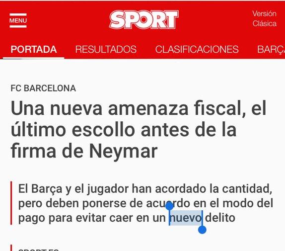 Aquí @sport reconociendo al menos un delito anterior del Barça y/o Neymar https://t.co/6Ae7HzwbRA