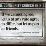 Spotted: Sign outside a NYC church in Park Ave quoting MA Jinnah about tolerance and peaceful coexistence https://t.co/AroPdD9KXW