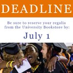 If you are graduating Summer B/C, the deadline to order your Regalia is THIS Friday! Be sure to order yours today! https://t.co/3rUajeDMln