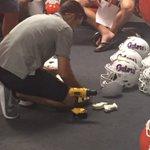 Fitting new guys for helmets and shoulder pads. Season is near!  @RiddellSports @GatorsFB @dewmar27 https://t.co/7Bn4xGhpQD