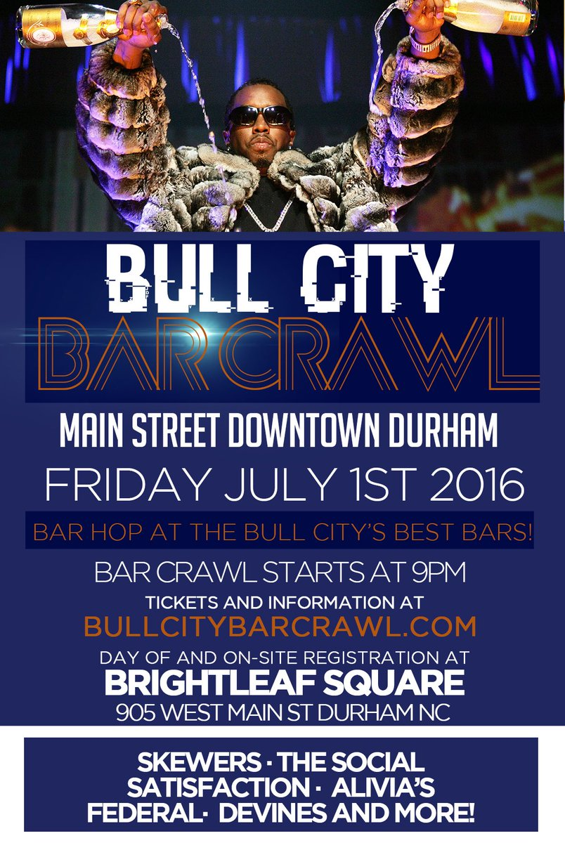 Bar Crawl Tonight! Check in at Brightleaf Plaza 905 W Main St Durham https://t.co/sHolyC7kET