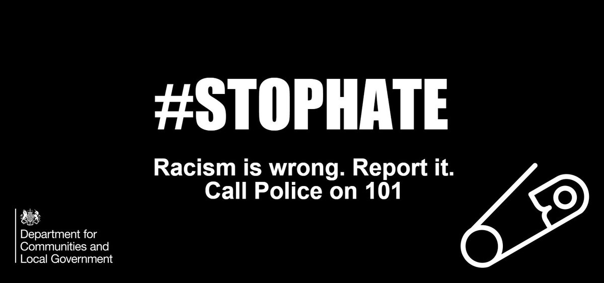 Racism is unacceptable. Report it. Call 101, contact Crimestoppers or https://t.co/IapvFmKuma #StopHate #safetypins https://t.co/qVesCWMk4p