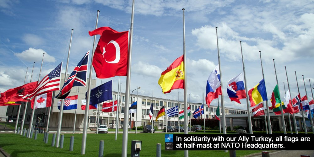 All flags at #NATO HQ at half-mast in solidarity with #Turkey https://t.co/8RIY5SbgxU