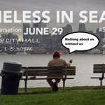 Homeless and formerly homeless people speak out on homelessness. Today 1-5 City Hall 4th Ave Side #SeaHomeless https://t.co/2pSvJlPUCf
