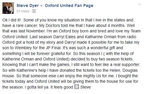 Today #OUFC fan Steve Dyer did something truly incredible in support of us + @HelenAndDouglas. Thank you Steve. https://t.co/WegzmaUhsm