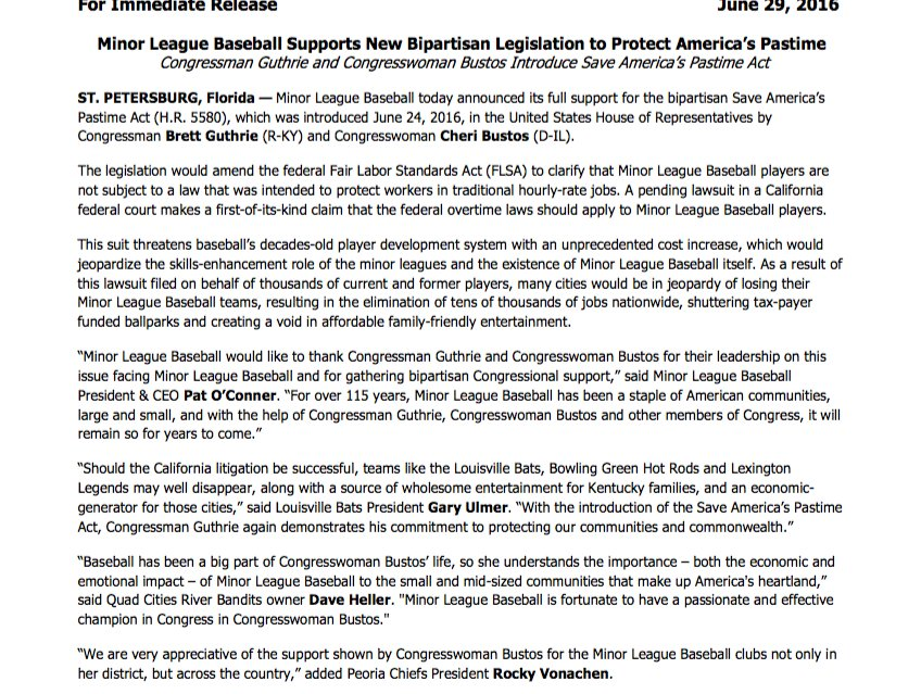 Congressman Brett Guthrie and Congresswoman Cheri Bustos introduce the Save America's Pastime Act in House of Reps https://t.co/AL8ohwqwuo