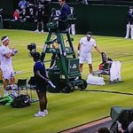 """British qualifier Marcus Willis (left) got dressed up as Roger Federer to play him. Wearing """"RF"""" shirt & headband https://t.co/V7uf5DBcaC"""