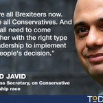 """""""Were all Brexiteers now,"""" in Tory party, says Sajid Javid, backing Stephen Crabb for PM https://t.co/qgYWZ44f2n https://t.co/HBNJcEM8Jf"""