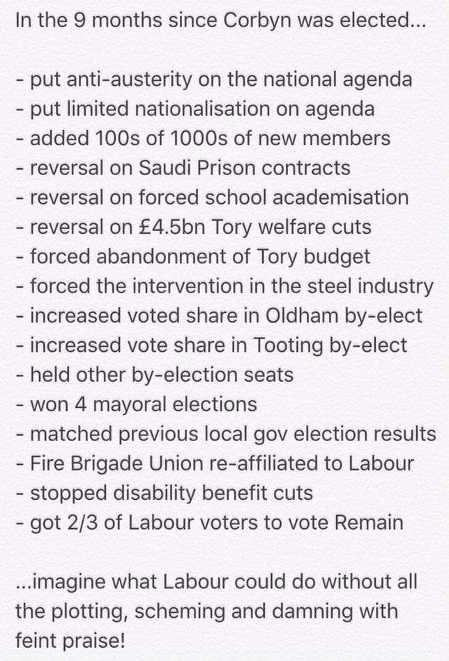 Plotters seem determined to focus on what @jeremycorbyn hasn't done. Here's a reminder of what he did do. Pls RT https://t.co/RB8M22TLVU