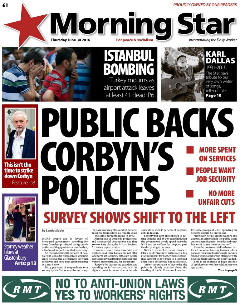 Thursday's front: Public backs Corbyn's policies #KeepCorbyn https://t.co/IgAckCVWVv