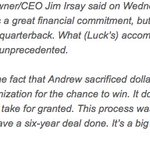 Jim Irsay and Andrew Luck share their thoughts on the new six-year deal for No. 12: https://t.co/CxzTbtLeIr https://t.co/ASQDxNQzNa