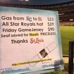 Thanks #STLCards for honoring Noah Wilson & his family. @Royals @bobfescoe wish I was here tomorrow @NBP_Bandages https://t.co/ICiD9ivRfr