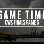 #CWS Finals Game 3 will officially start at 12:08 PM CT. https://t.co/YSZhGr64c6
