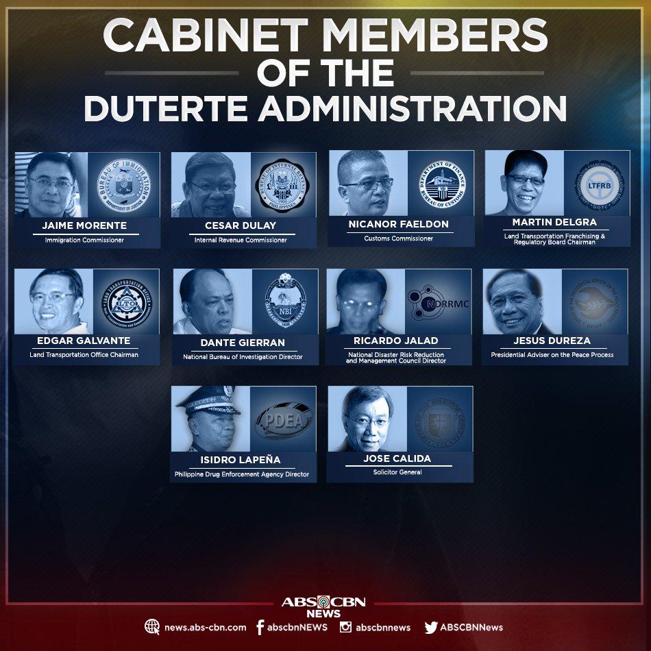 Us Cabinet Secretaries President Rodrigo Duterte And His Cabinet Secretaries Attend Their