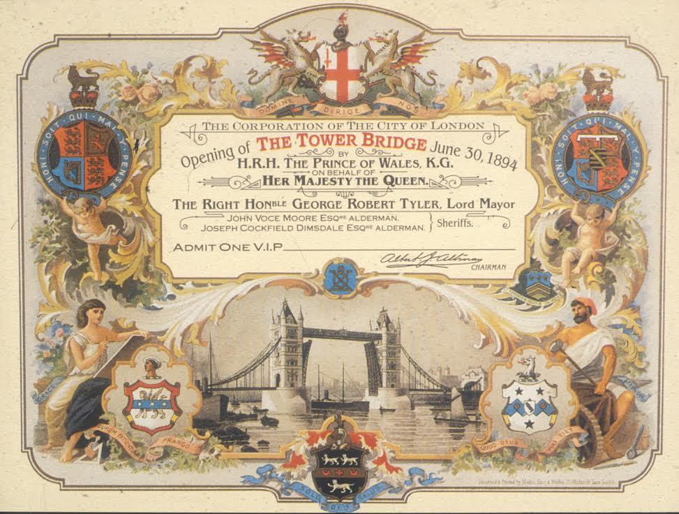Today marks 122 years since Tower Bridge was first opened to the public! Here's the ticket from the event in 1894 https://t.co/aniiLd2TsH