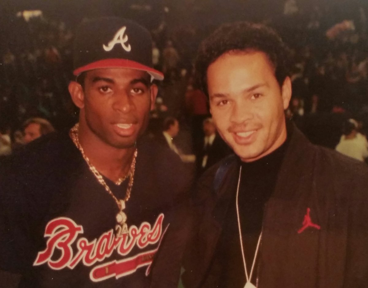 Once upon a time... me & @DeionSanders. Yup, he played in the World Series. & that's where we took this pic.  #TBT https://t.co/YD8iDsk7qf