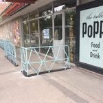An awesome new patio opening @thetallestpoppy. Its made out of bicycle frames! Love West Broadway! #Winnipeg https://t.co/KJxoOafQBk