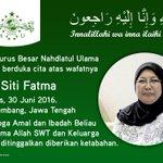 PBNU Turut berduka cita atas wafatnya Hj. Siti Fatma (Istri KH. Ahmad Mustofa Bisri (Gus Mus)) Kamis, 30 Juni 2016. https://t.co/aSfYfe4dr4