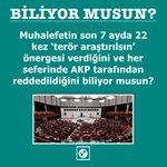 Muhalefetin 7 ayda 22 kez terör araştırılsın önergesinin her seferinde AKP tarafından reddedildiğini biliyor musun? https://t.co/QCOosOdtiL