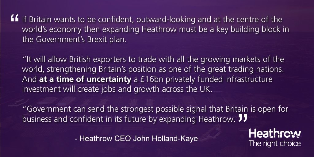 RT @yourHeathrow: Heathrow responds to Government | Expansion strongest way to show Britain is open business - http…