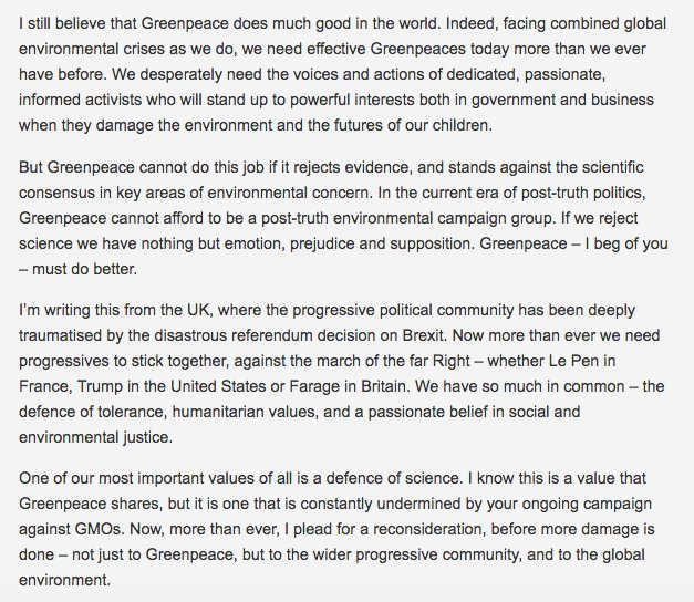 My plea to Greenpeace following the letter by 107 Nobel laureates on GMOs: https://t.co/o7bVhjwzAs https://t.co/X7NaRu0cix