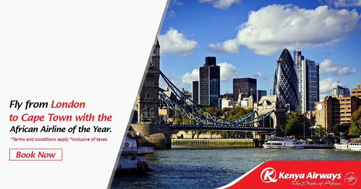 Starting tomorrow,you can fly from London to Cape Town 3/week with Africa's Leading Airline: