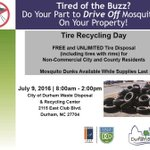 #Durham residents --> tires in your yard = mosquito farms. Recycle them for FREE July 9. https://t.co/ArhvIck9wc