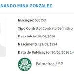 Zagueiro Yerry Mina foi registrado no BID pelo @SEPalmeiras: https://t.co/HT9420HMz1