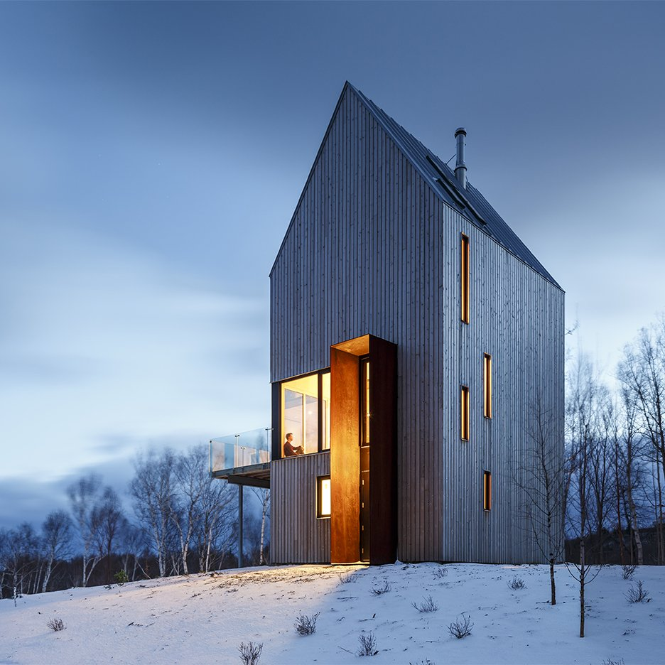 RT @Dezeen: Plates of weathering steel frame the tall doorway to this timber-clad home ...
