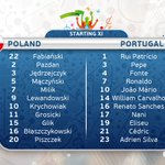The teams are in. Renato Sanches starts for Portugal. #EURO2016 #POLPOR https://t.co/TqH49OEa7D