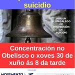 Hoxe, concentracións en toda Galicia reivindican un plan para previr o suicidio. Na Coruña, ás 20, no Obelisco https://t.co/uQUbsoYCI9