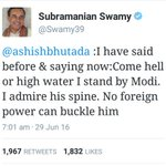 A tweet of @Swamy39 that shut the f### up Presstitutes & Opposition! #SwamyVsPresstitutes https://t.co/jLGS0yrEhy