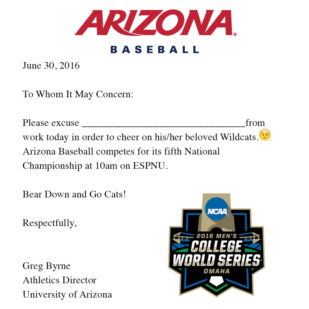 Here is your excuse note so you can watch @ArizonaBaseball in the @NCAACWS.  #BearDown https://t.co/gegT5eKy9o