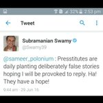 @Swamy39 is one man army. Nobody can beat him. #SwamyVsPresstitutes https://t.co/zN8EfQhAvt