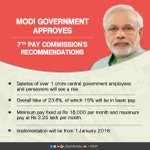 Modi govt approves 7th pay commissions recommendations, 1 crore employees to benefit with 23.6% hike per month. https://t.co/WgqklYh1ne