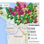 Map of overcrowded Vancouver schools. Capacity above 100%. #bced #bcpoli https://t.co/KkfEV3J8St