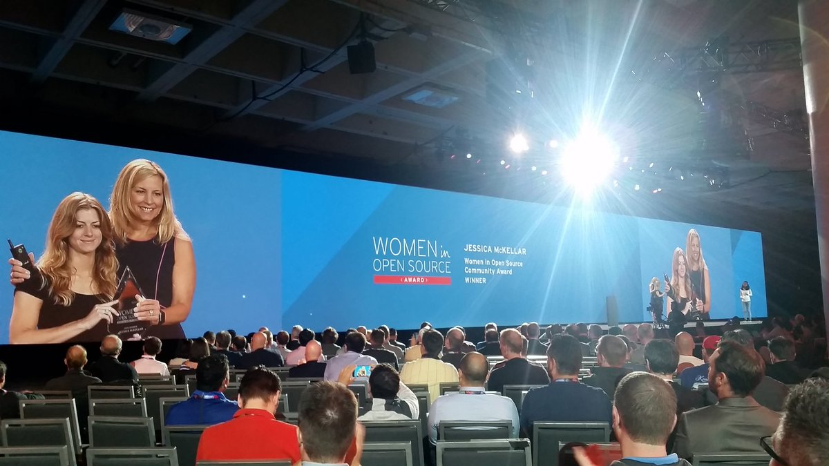 Congrats to @jessicamckellar on your Women in Open Source Award, thanks for all your contributions #RHSummit https://t.co/Y19biJ2lIS