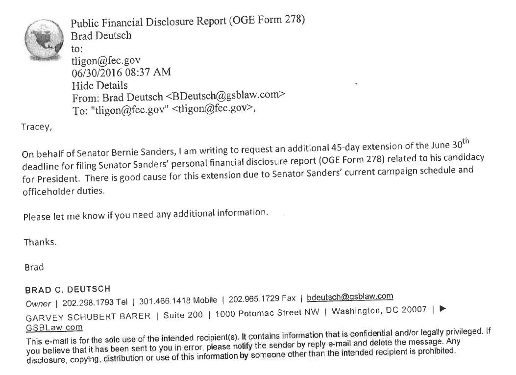 """Lawyer for @BernieSanders cites """"campaign schedule & officeholder duties"""" for Bernie not disclosing personal $ info https://t.co/6PedXpKn7S"""
